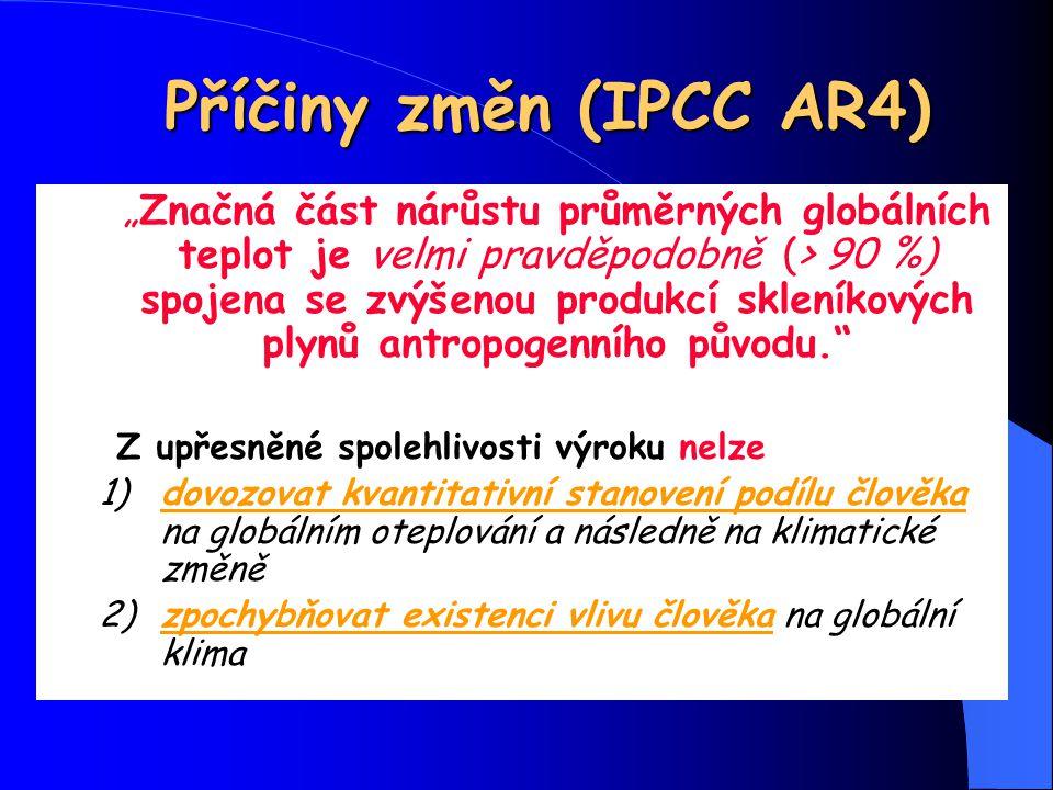 """Příčiny změn (IPCC AR4) """"Značná část nárůstu průměrných globálních teplot je velmi pravděpodobně (> 90 %) spojena se zvýšenou produkcí skleníkových pl"""