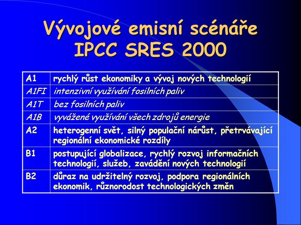 Vývojové emisní scénáře IPCC SRES 2000 A1rychlý růst ekonomiky a vývoj nových technologií A1FIintenzivní využívání fosilních paliv A1Tbez fosilních pa