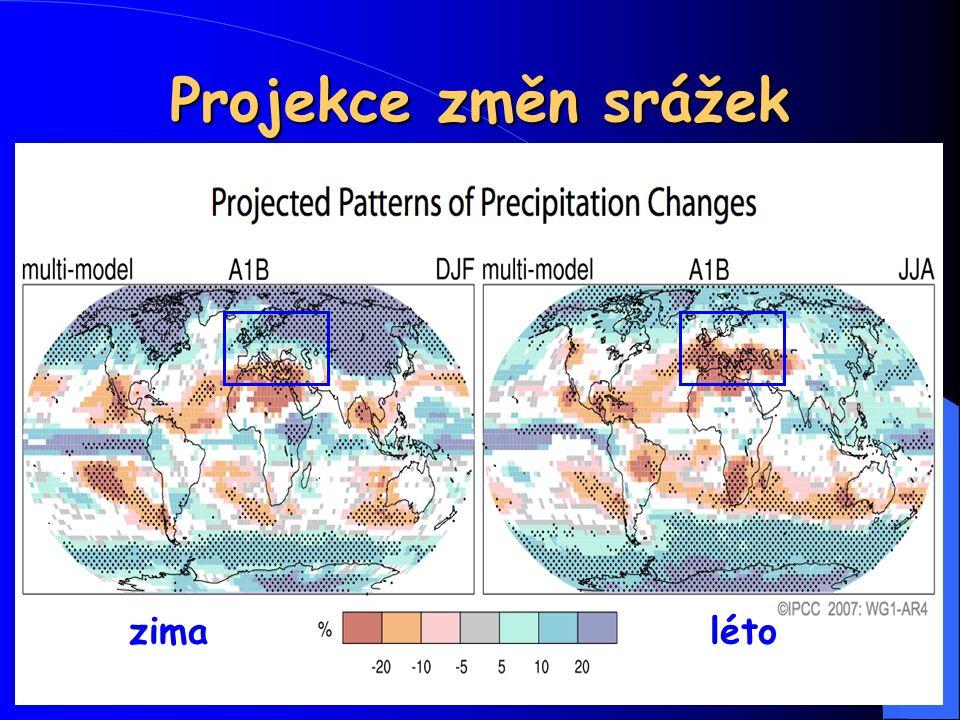 33 Projekce změn srážek zimaléto