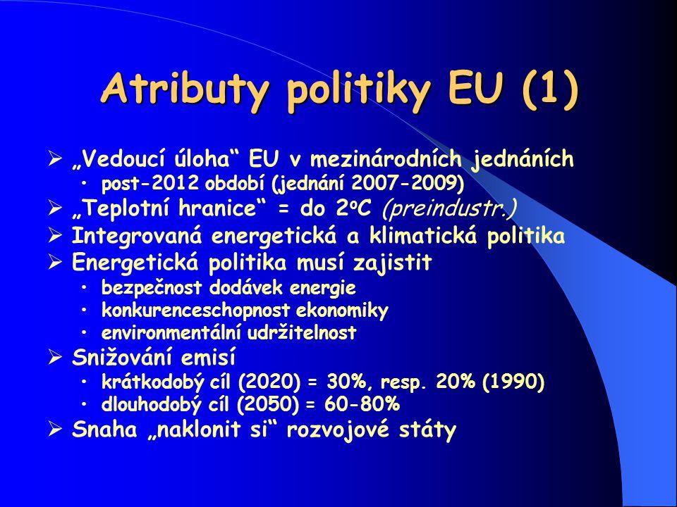 """Atributy politiky EU (1)  """"Vedoucí úloha"""" EU v mezinárodních jednáních post-2012 období (jednání 2007-2009)  """"Teplotní hranice"""" = do 2 o C (preindus"""