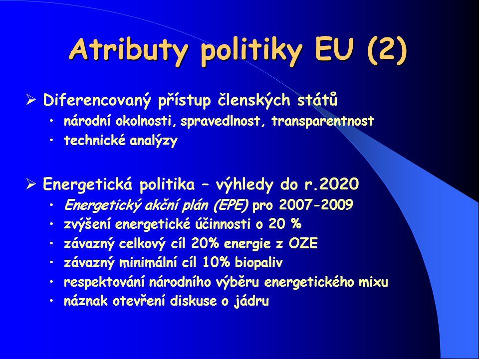 Atributy politiky EU (2)  Diferencovaný přístup členských států národní okolnosti, spravedlnost, transparentnost technické analýzy  Energetická poli