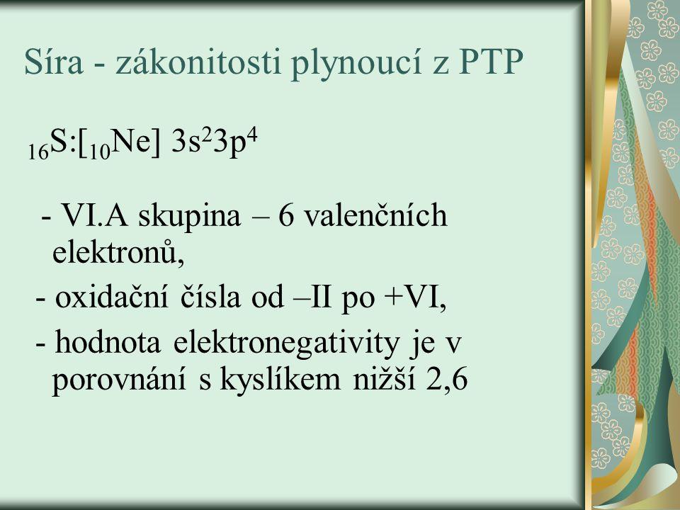 Výskyt síry - volná – je obsažena v sopečných plynech, - vázaná – v sulfidech a v síranech, v organických sloučeninách – biogenní prvek: pyrit – FeS 2 sfalerit – ZnS rumělka (cinabarit) – HgS chalkopyrit – CuFeS 2 galenit – PbS baryt – BaSO 4 sádrovec – CaSO 4.2H 2 O Glauberova sůl – Na 2 SO 4.