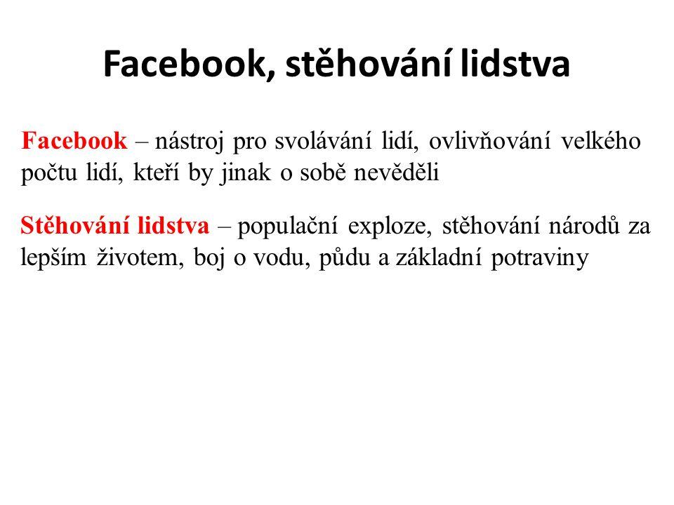 Facebook, stěhování lidstva Facebook – nástroj pro svolávání lidí, ovlivňování velkého počtu lidí, kteří by jinak o sobě nevěděli Stěhování lidstva –