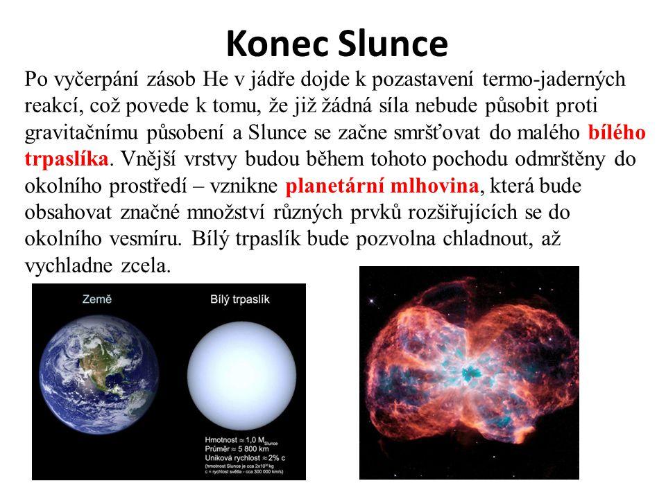 Konec Slunce Po vyčerpání zásob He v jádře dojde k pozastavení termo-jaderných reakcí, což povede k tomu, že již žádná síla nebude působit proti gravi