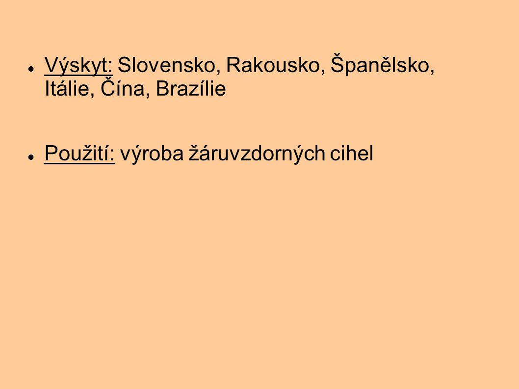Výskyt: Slovensko, Rakousko, Španělsko, Itálie, Čína, Brazílie Použití: výroba žáruvzdorných cihel