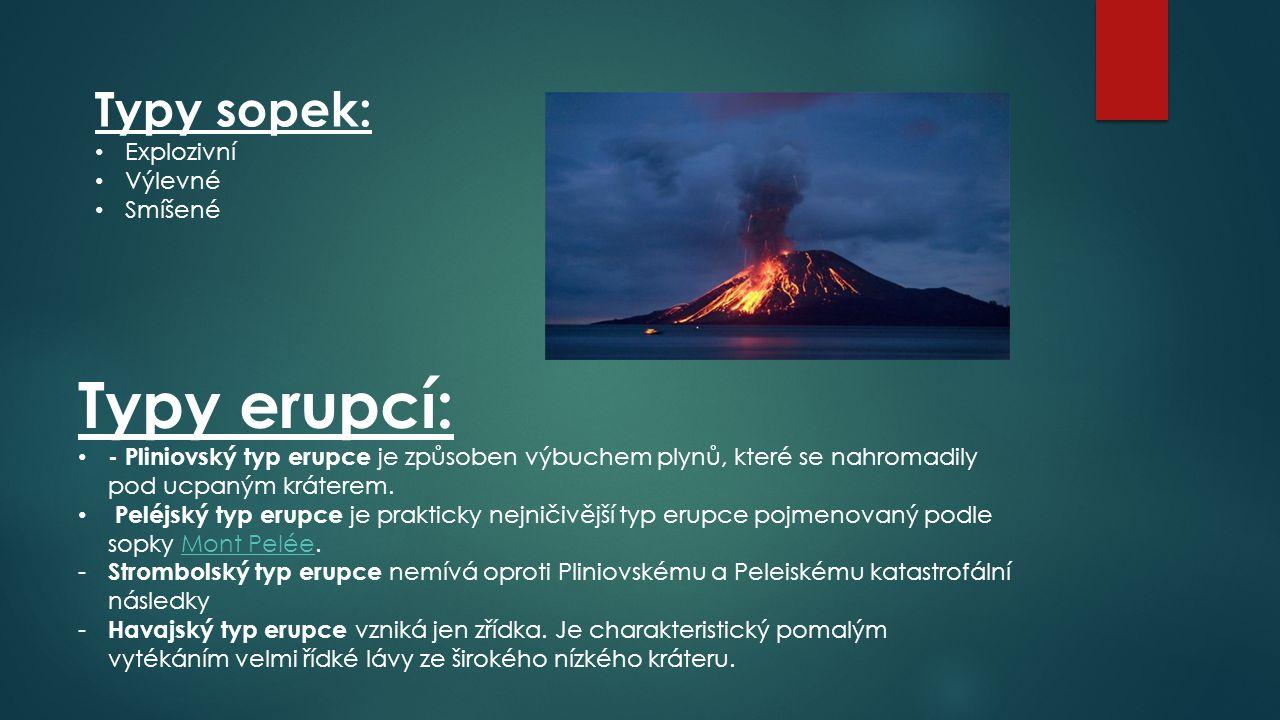 Typy sopek: Explozivní Výlevné Smíšené Typy erupcí: - Pliniovský typ erupce je způsoben výbuchem plynů, které se nahromadily pod ucpaným kráterem. Pel