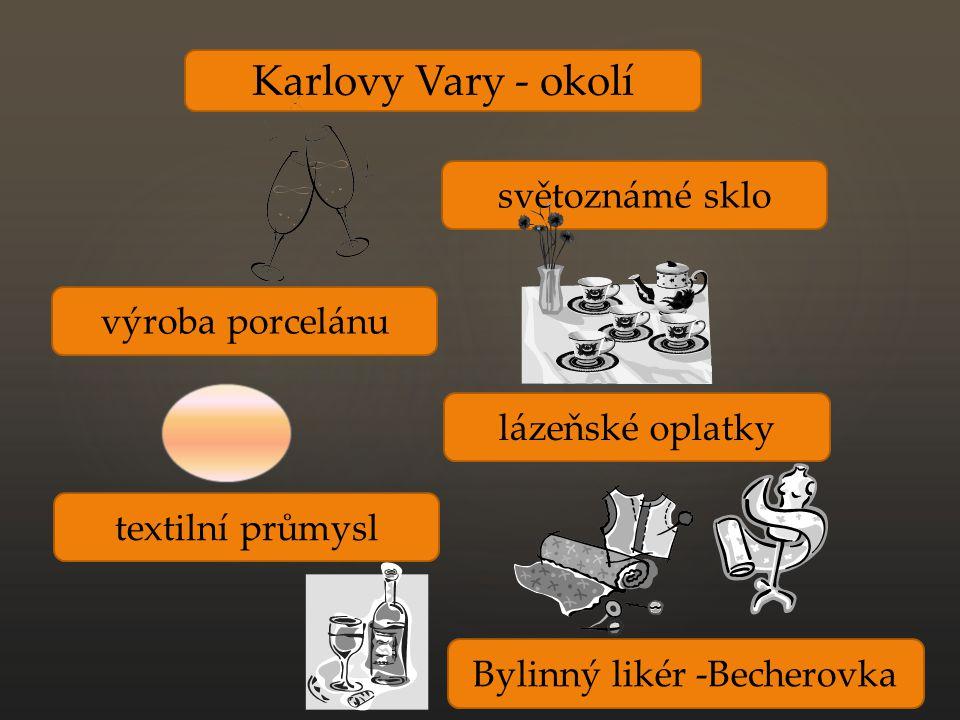 Karlovy Vary - okolí výroba porcelánu světoznámé sklo lázeňské oplatky textilní průmysl Bylinný likér -Becherovka