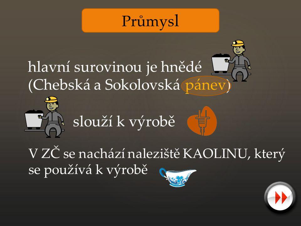Průmys l hlavní surovinou je hnědé (Chebská a Sokolovská pánev) slouží k výrobě V ZČ se nachází naleziště KAOLINU, který se používá k výrobě