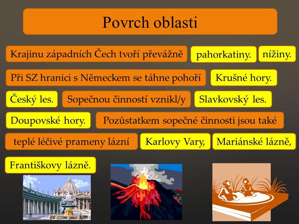 KOLONÁDA- cesta lemovaná sloupy k procházkám ZŘÍDLO – studený minerální pramen VŘÍDLO – teplý minerální pramen Povrch oblasti Krajinu západních Čech tvoří převážně pahorkatiny.
