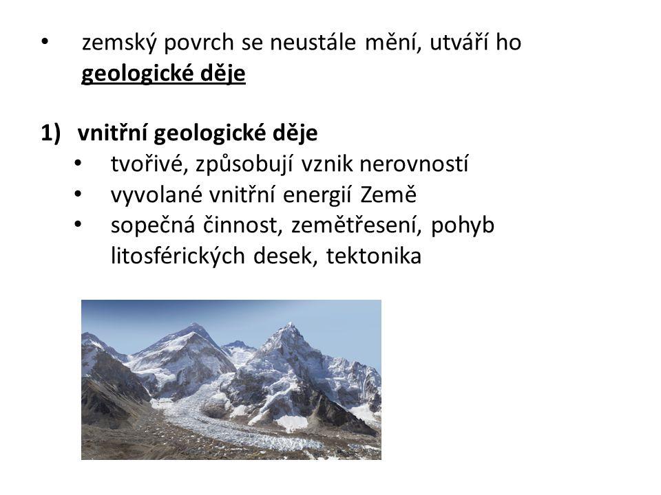 zemský povrch se neustále mění, utváří ho geologické děje 1)vnitřní geologické děje tvořivé, způsobují vznik nerovností vyvolané vnitřní energií Země sopečná činnost, zemětřesení, pohyb litosférických desek, tektonika