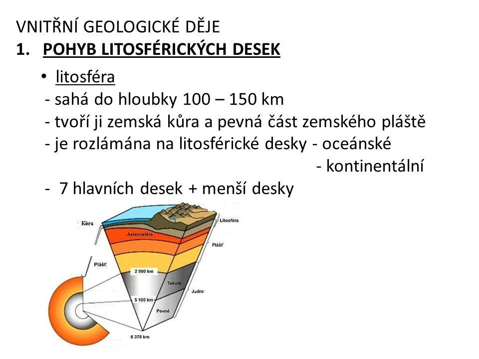 litosféra - sahá do hloubky 100 – 150 km - tvoří ji zemská kůra a pevná část zemského pláště - je rozlámána na litosférické desky - oceánské - kontinentální - 7 hlavních desek + menší desky VNITŘNÍ GEOLOGICKÉ DĚJE 1.POHYB LITOSFÉRICKÝCH DESEK