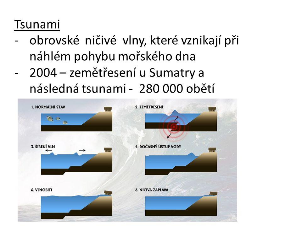 Tsunami -obrovské ničivé vlny, které vznikají při náhlém pohybu mořského dna -2004 – zemětřesení u Sumatry a následná tsunami - 280 000 obětí