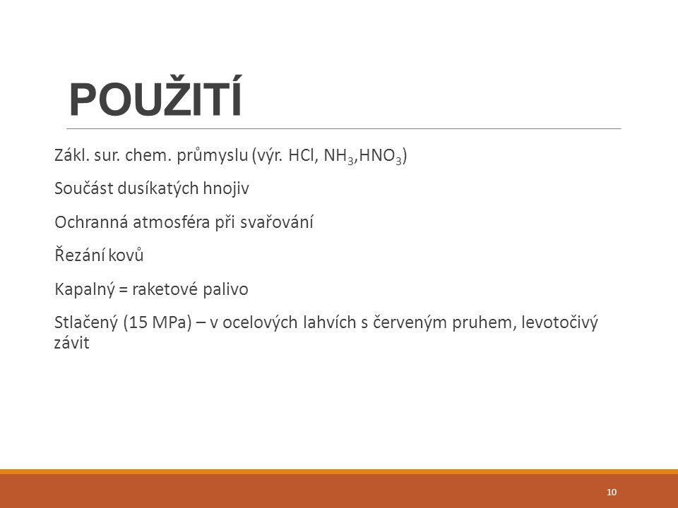 POUŽITÍ Zákl. sur. chem. průmyslu (výr.