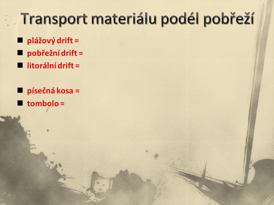 plážový drift = pobřežní drift = litorální drift = písečná kosa = tombolo =
