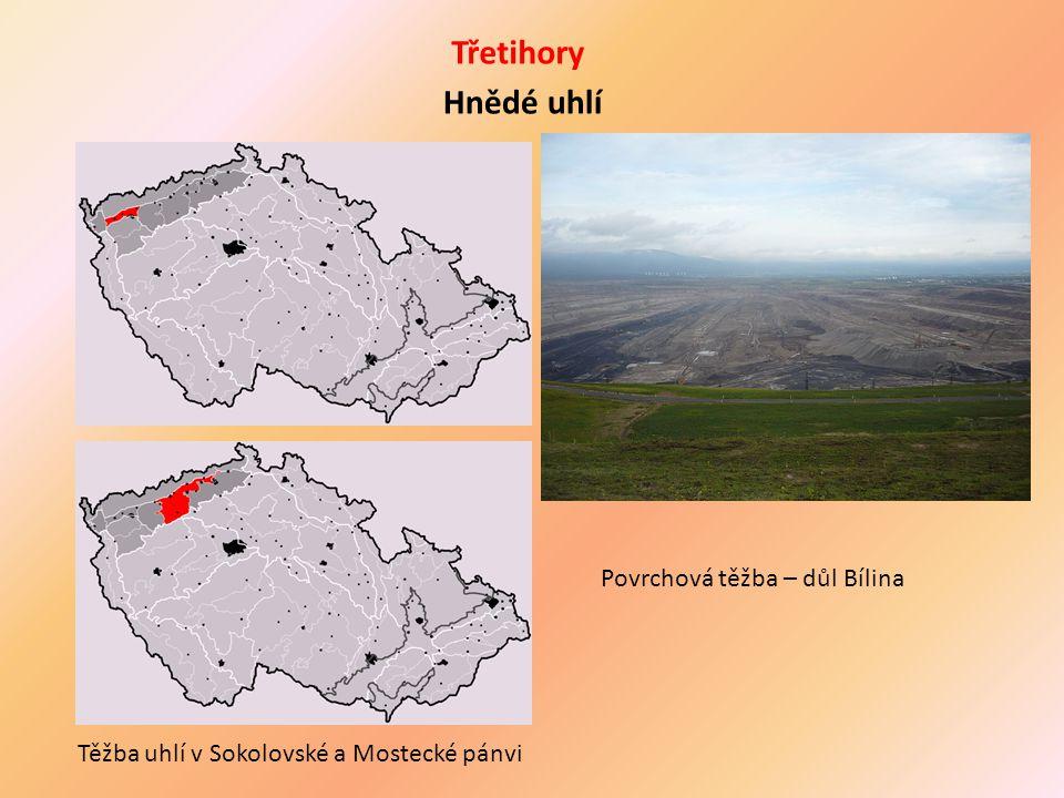 Třetihory Hnědé uhlí Těžba uhlí v Sokolovské a Mostecké pánvi Povrchová těžba – důl Bílina