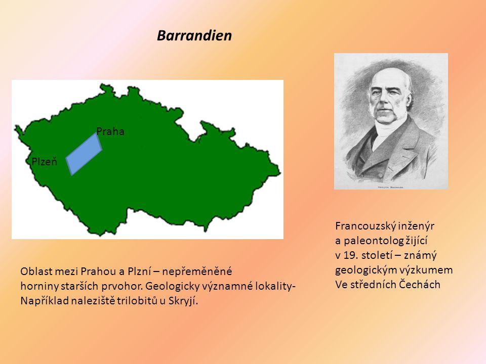 Barrandien Praha Plzeň Oblast mezi Prahou a Plzní – nepřeměněné horniny starších prvohor. Geologicky významné lokality- Například naleziště trilobitů