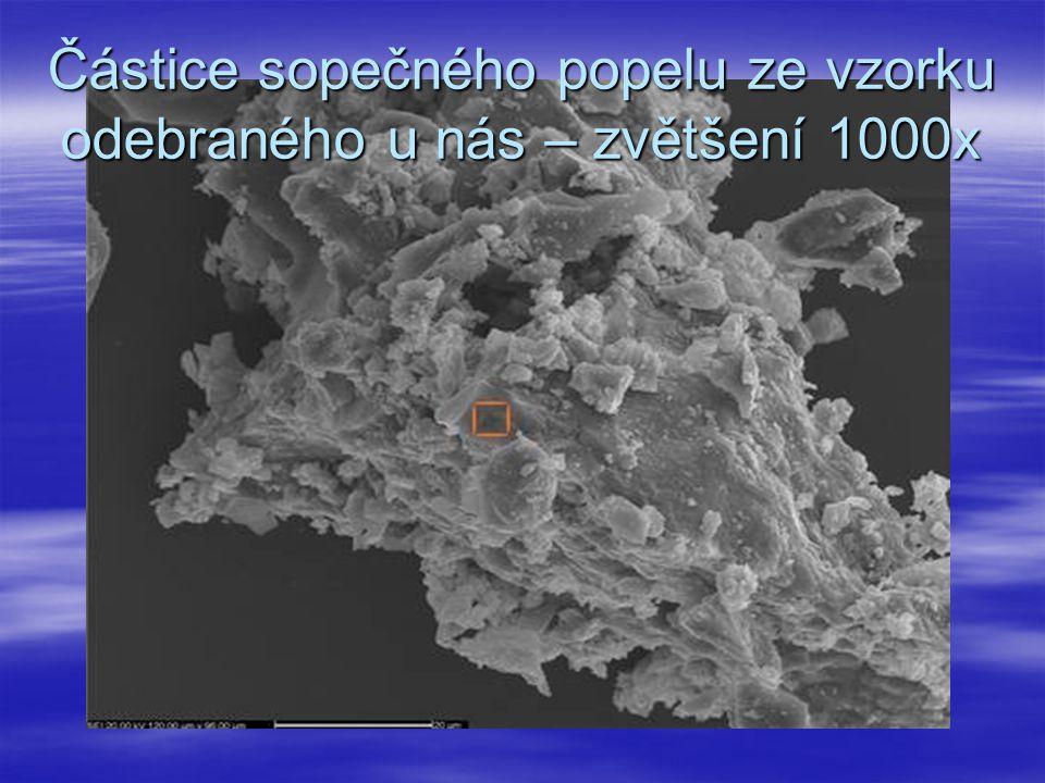 Částice sopečného popelu ze vzorku odebraného u nás – zvětšení 1000x