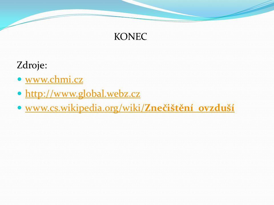 KONEC Zdroje: www.chmi.cz http://www.global.webz.cz www.cs.wikipedia.org/wiki/Znečištění_ovzduší www.cs.wikipedia.org/wiki/Znečištění_ovzduší