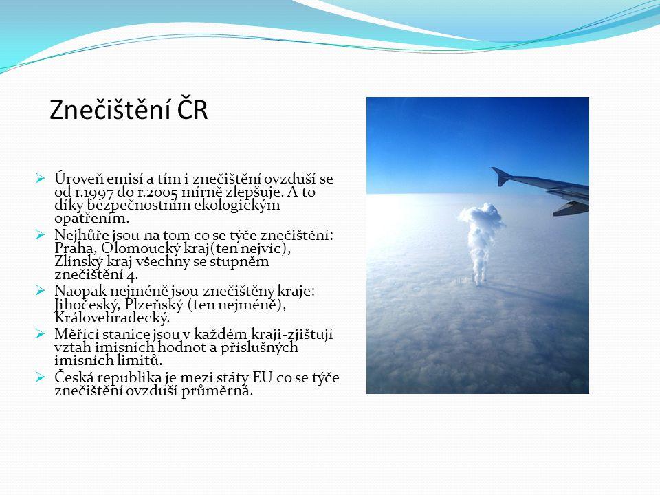 Znečištění ČR  Úroveň emisí a tím i znečištění ovzduší se od r.1997 do r.2005 mírně zlepšuje.