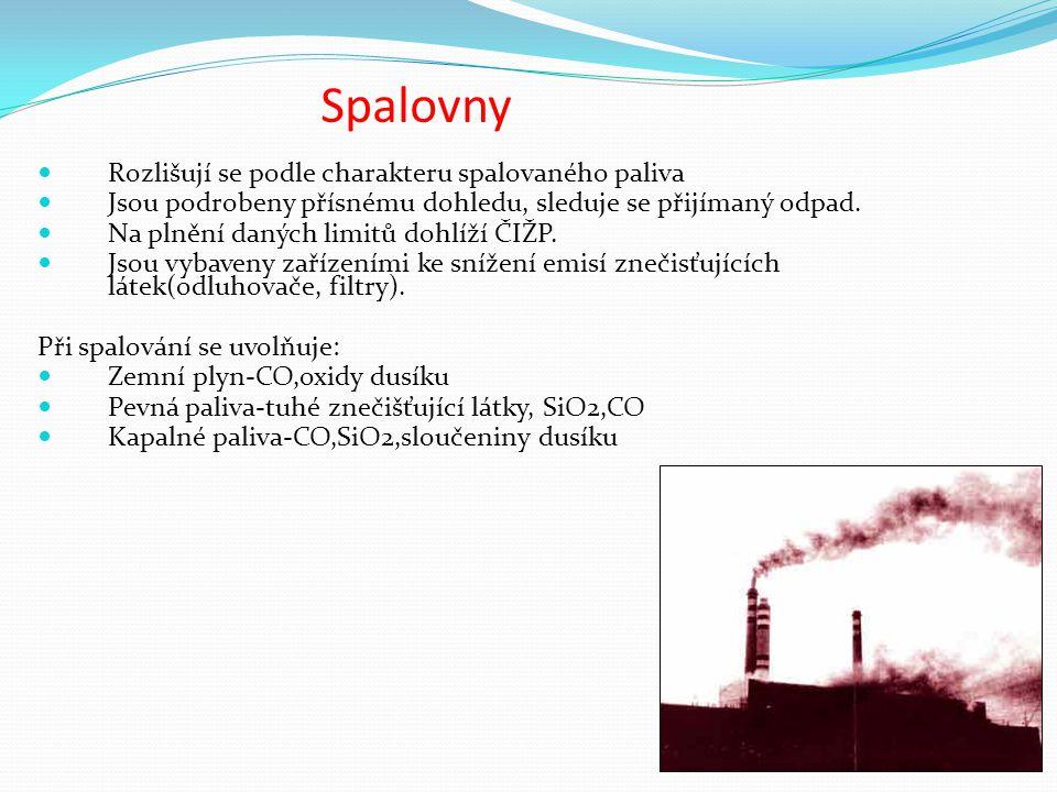 Spalovny Rozlišují se podle charakteru spalovaného paliva Jsou podrobeny přísnému dohledu, sleduje se přijímaný odpad.