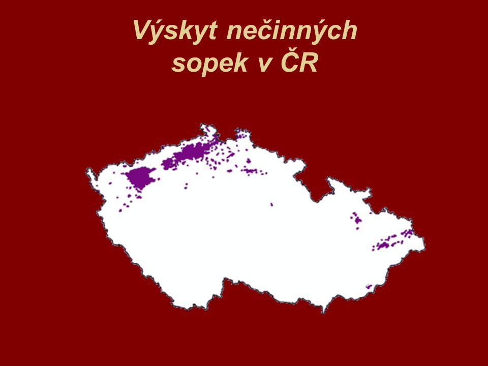 Výskyt nečinných sopek v ČR