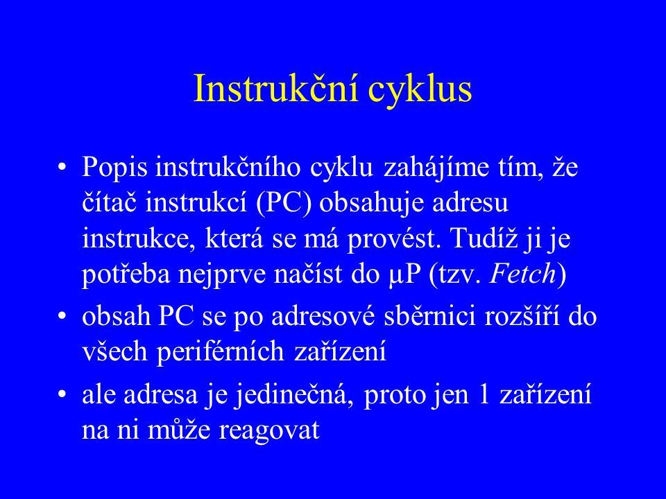 Instrukční cyklus Popis instrukčního cyklu zahájíme tím, že čítač instrukcí (PC) obsahuje adresu instrukce, která se má provést.