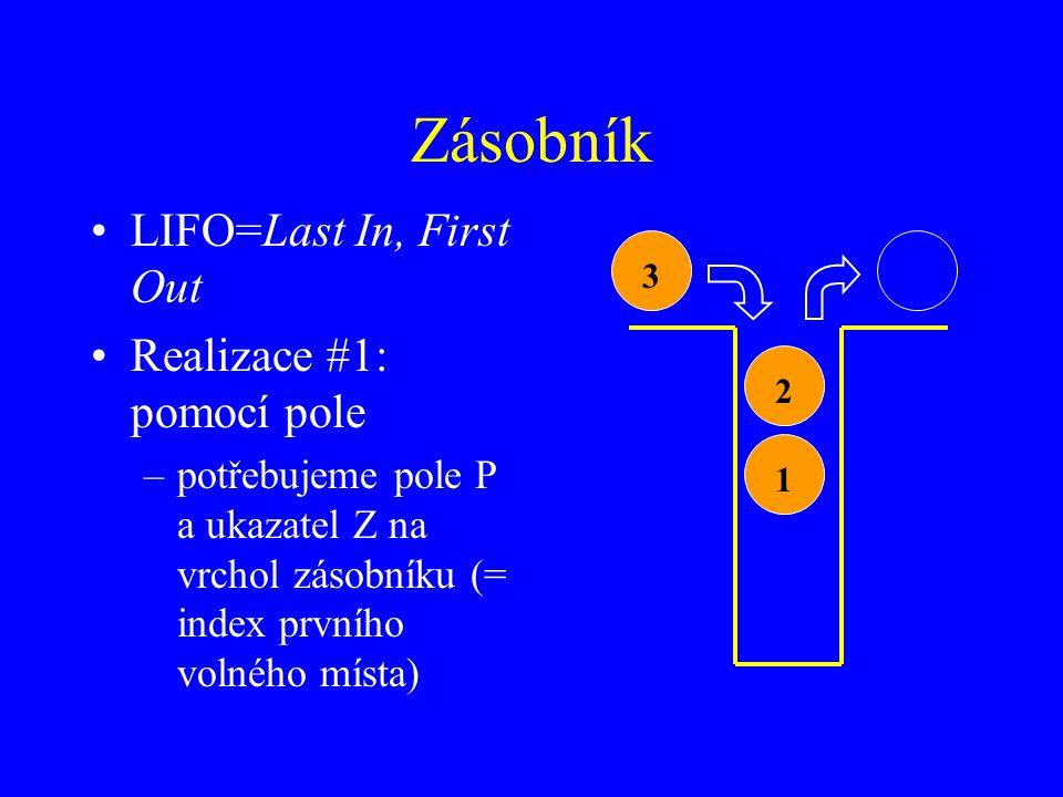 Zásobník LIFO=Last In, First Out Realizace #1: pomocí pole –potřebujeme pole P a ukazatel Z na vrchol zásobníku (= index prvního volného místa) 123