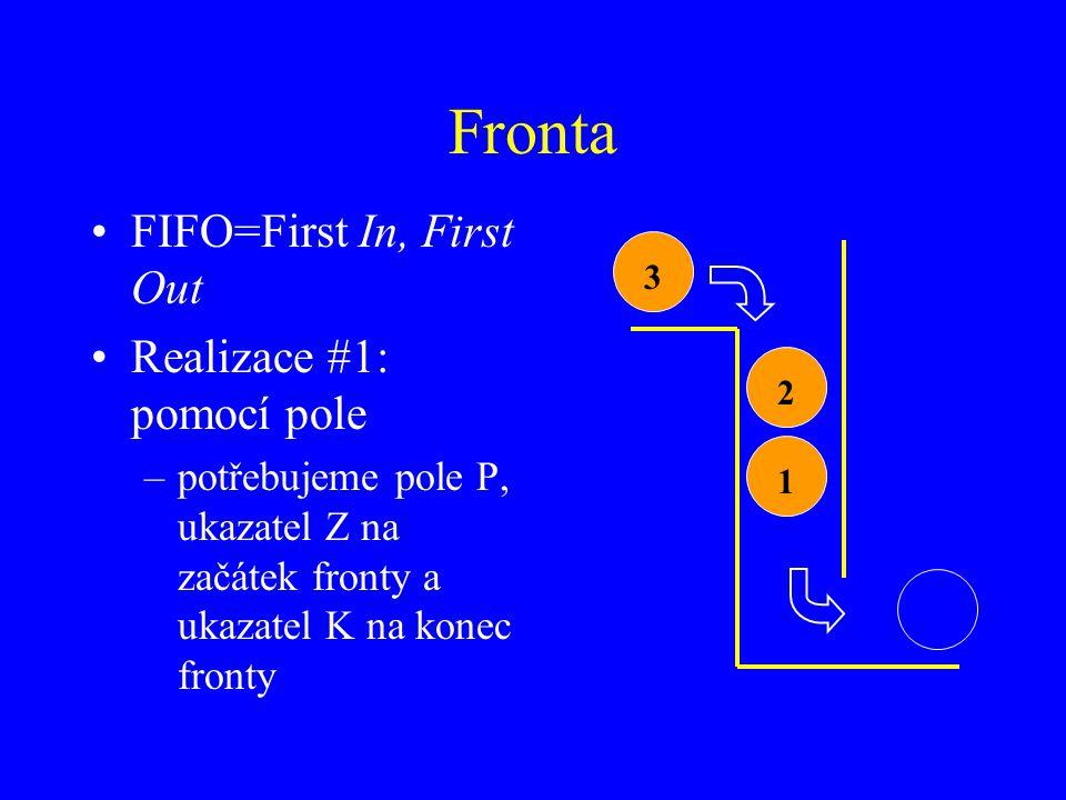 Fronta FIFO=First In, First Out Realizace #1: pomocí pole –potřebujeme pole P, ukazatel Z na začátek fronty a ukazatel K na konec fronty 123