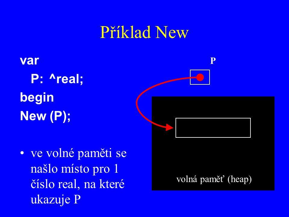 Příklad New var P:^real; begin New (P); ve volné paměti se našlo místo pro 1 číslo real, na které ukazuje P P volná paměť (heap)