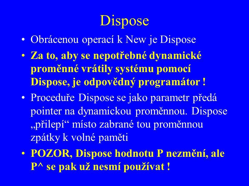 Dispose Obrácenou operací k New je Dispose Za to, aby se nepotřebné dynamické proměnné vrátily systému pomocí Dispose, je odpovědný programátor .