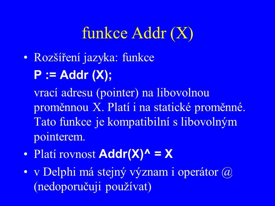 funkce Addr (X) Rozšíření jazyka: funkce P := Addr (X); vrací adresu (pointer) na libovolnou proměnnou X.