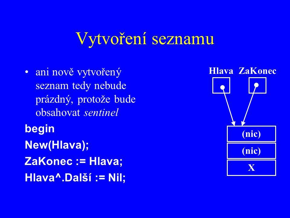 Vytvoření seznamu ani nově vytvořený seznam tedy nebude prázdný, protože bude obsahovat sentinel begin New(Hlava); ZaKonec := Hlava; Hlava^.Další := Nil; (nic) X HlavaZaKonec