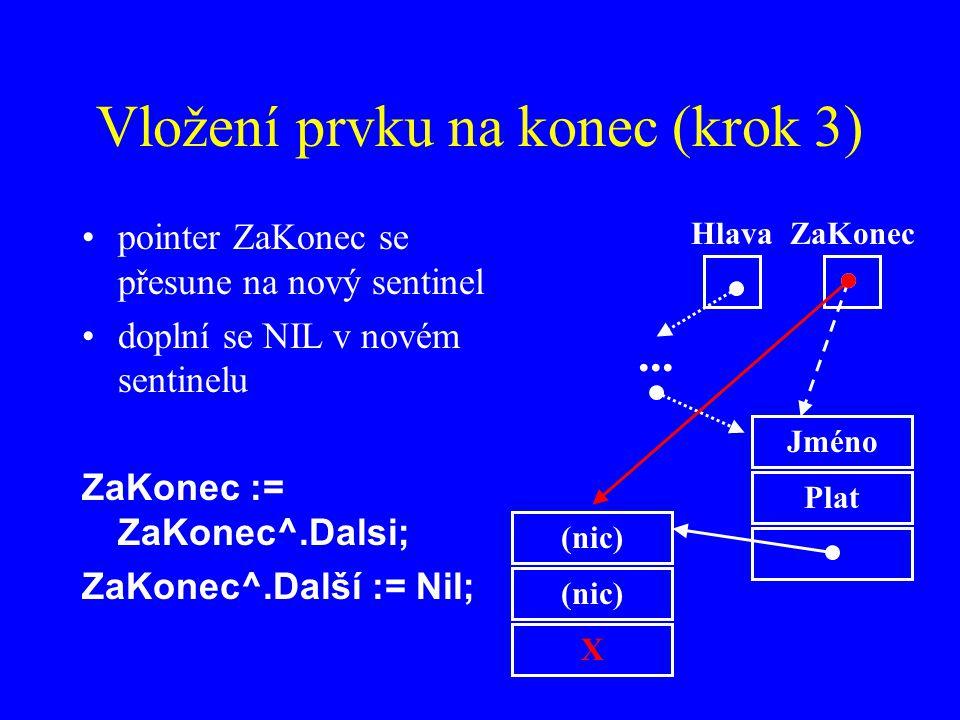 Vložení prvku na konec (krok 3) pointer ZaKonec se přesune na nový sentinel doplní se NIL v novém sentinelu ZaKonec := ZaKonec^.Dalsi; ZaKonec^.Další := Nil; Jméno Plat HlavaZaKonec...