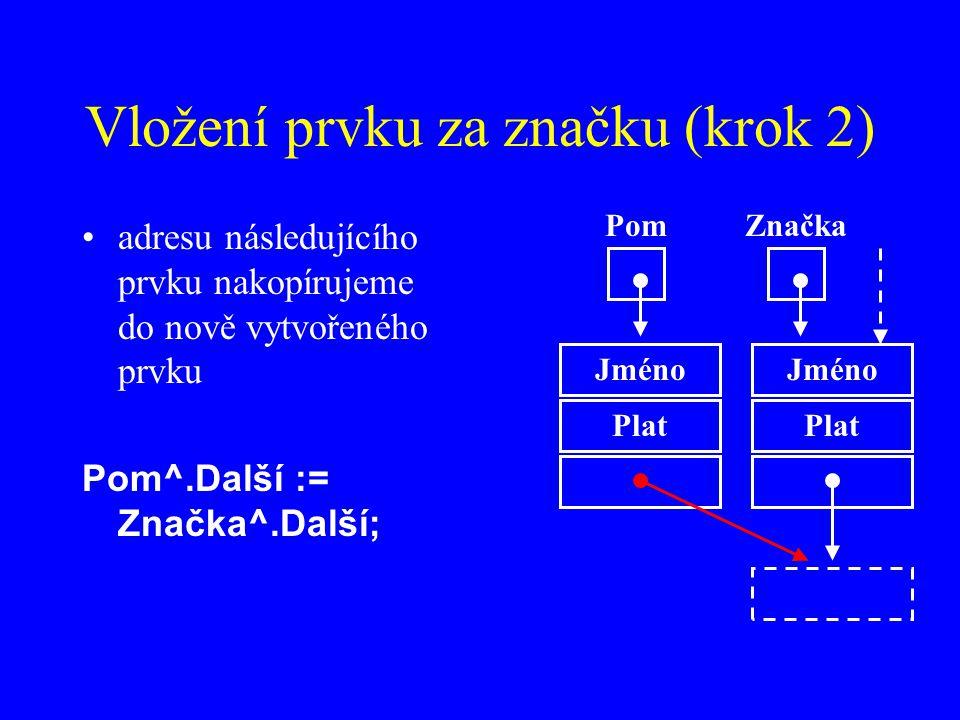 Vložení prvku za značku (krok 2) adresu následujícího prvku nakopírujeme do nově vytvořeného prvku Pom^.Další := Značka^.Další; Jméno Plat ZnačkaPom Jméno Plat