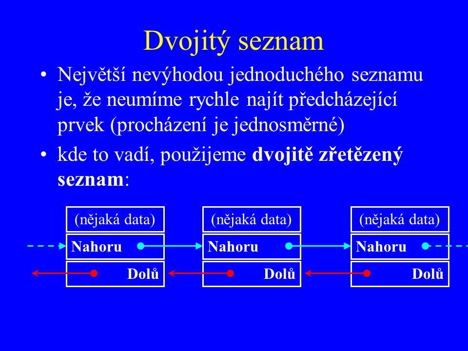 Dvojitý seznam Největší nevýhodou jednoduchého seznamu je, že neumíme rychle najít předcházející prvek (procházení je jednosměrné) kde to vadí, použijeme dvojitě zřetězený seznam: (nějaká data) Nahoru Dolů (nějaká data) Nahoru Dolů (nějaká data) Nahoru Dolů