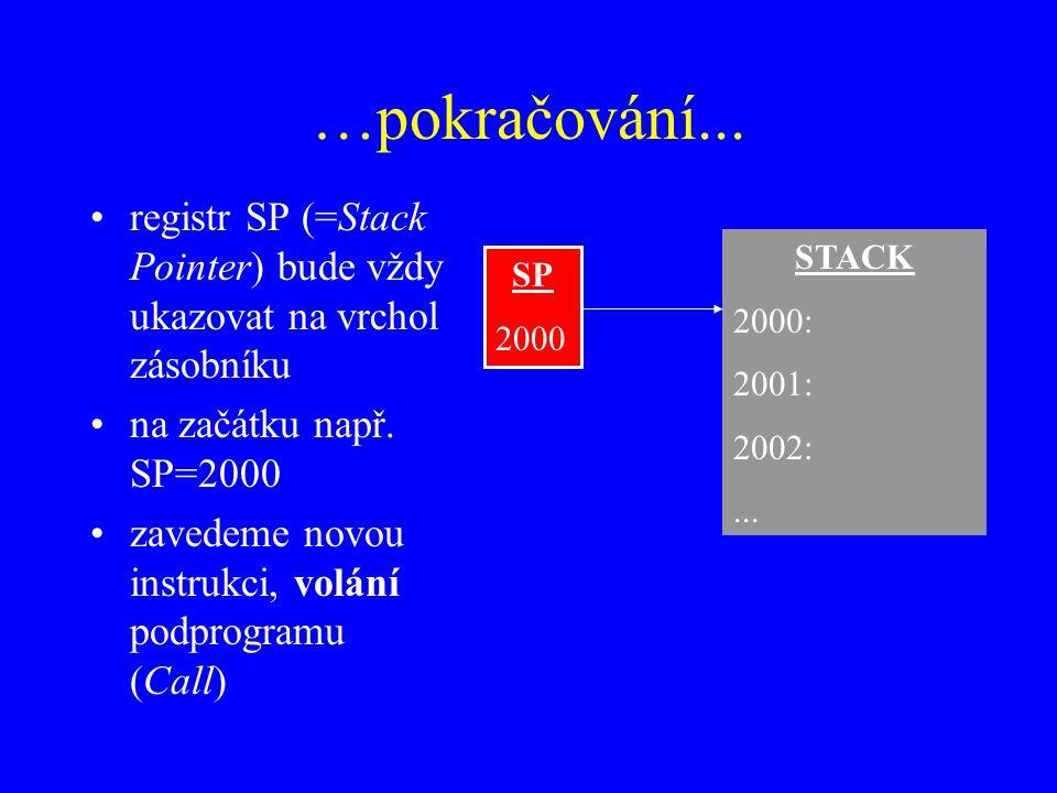 …pokračování...registr SP (=Stack Pointer) bude vždy ukazovat na vrchol zásobníku na začátku např.