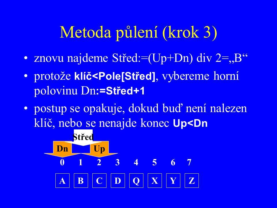 """Metoda půlení (krok 3) znovu najdeme Střed:=(Up+Dn) div 2=""""B protože klíč<Pole[Střed], vybereme horní polovinu Dn :=Střed+1 postup se opakuje, dokud buď není nalezen klíč, nebo se nenajde konec Up<Dn 0123 ABCDZQXY 4567 DnUp Střed"""