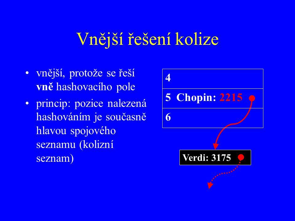 Vnější řešení kolize vnější, protože se řeší vně hashovacího pole princip: pozice nalezená hashováním je současně hlavou spojového seznamu (kolizní seznam) 5Chopin: 2215 Verdi: 3175 4 6