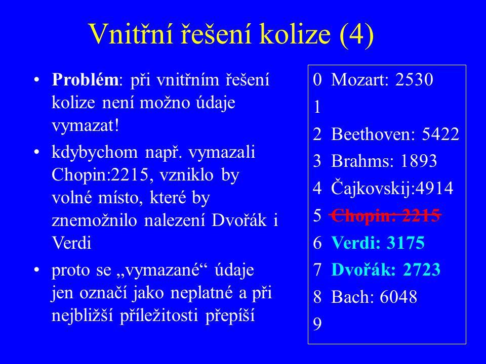 Vnitřní řešení kolize (4) Problém: při vnitřním řešení kolize není možno údaje vymazat.