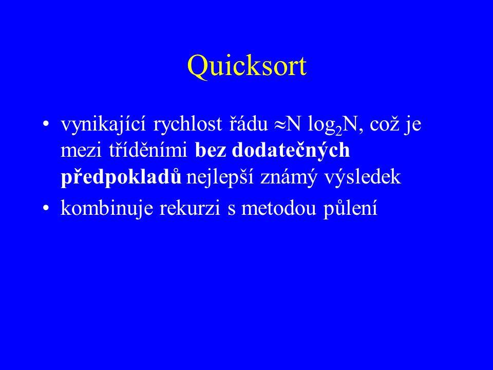 Quicksort vynikající rychlost řádu  N log 2 N, což je mezi tříděními bez dodatečných předpokladů nejlepší známý výsledek kombinuje rekurzi s metodou půlení