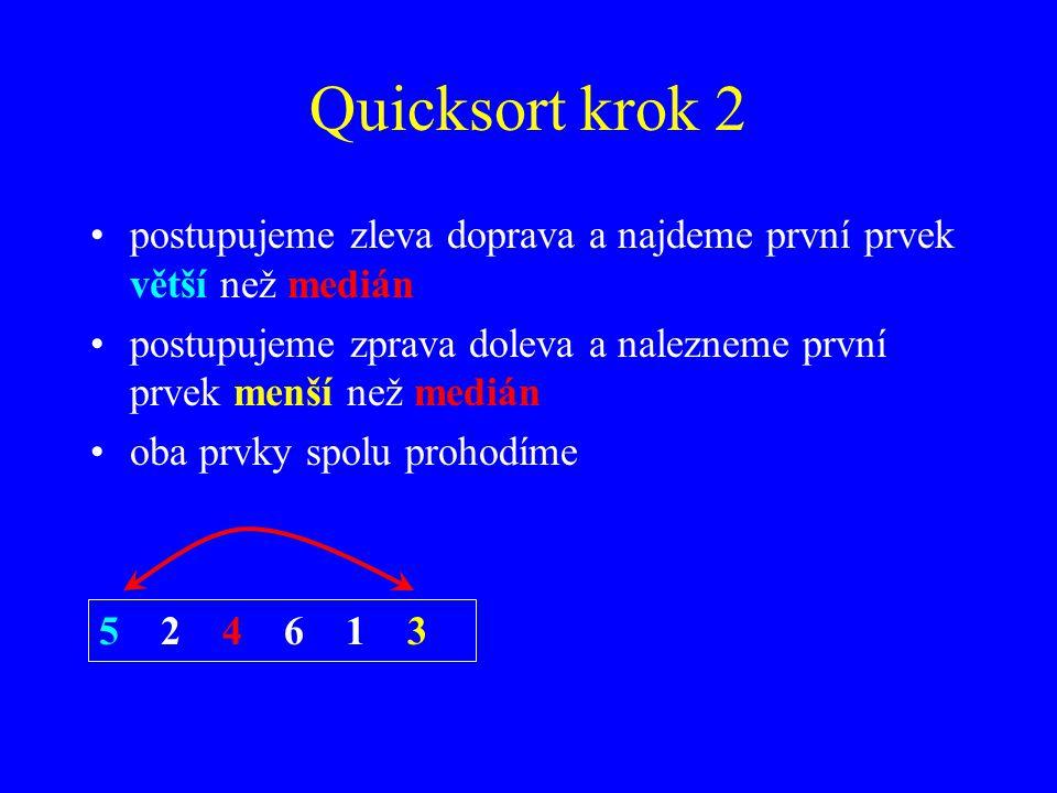 Quicksort krok 2 postupujeme zleva doprava a najdeme první prvek větší než medián postupujeme zprava doleva a nalezneme první prvek menší než medián oba prvky spolu prohodíme 5 2 4 6 1 3