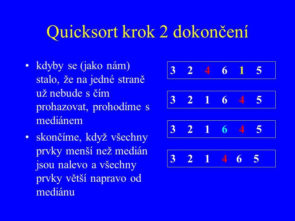 Quicksort krok 2 dokončení kdyby se (jako nám) stalo, že na jedné straně už nebude s čím prohazovat, prohodíme s mediánem skončíme, když všechny prvky menší než medián jsou nalevo a všechny prvky větší napravo od mediánu 3 2 4 6 1 5 3 2 1 6 4 5 3 2 1 4 6 5