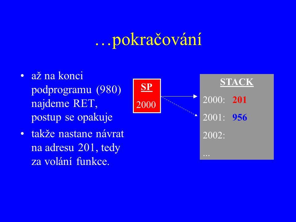 …pokračování až na konci podprogramu (980) najdeme RET, postup se opakuje takže nastane návrat na adresu 201, tedy za volání funkce.