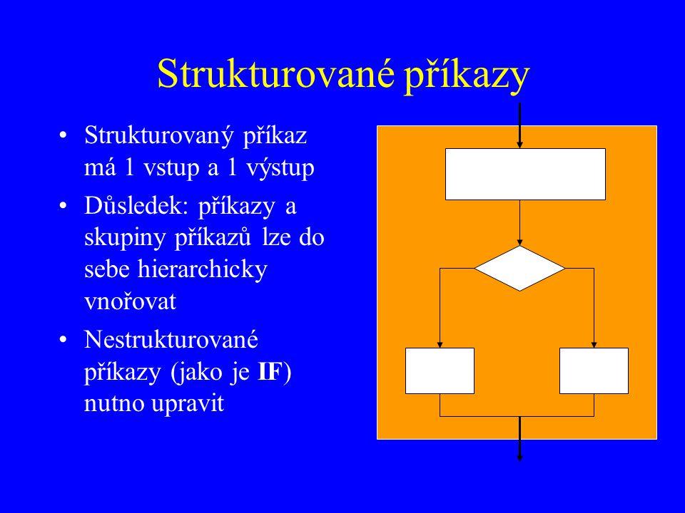 Strukturované příkazy Strukturovaný příkaz má 1 vstup a 1 výstup Důsledek: příkazy a skupiny příkazů lze do sebe hierarchicky vnořovat Nestrukturované příkazy (jako je IF) nutno upravit