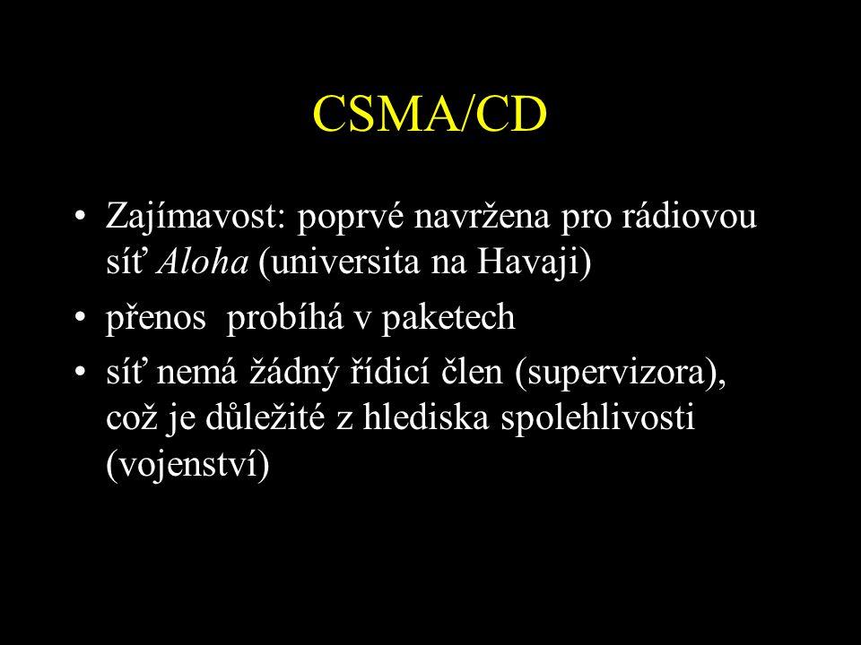 CSMA/CD Zajímavost: poprvé navržena pro rádiovou síť Aloha (universita na Havaji) přenos probíhá v paketech síť nemá žádný řídicí člen (supervizora), což je důležité z hlediska spolehlivosti (vojenství)