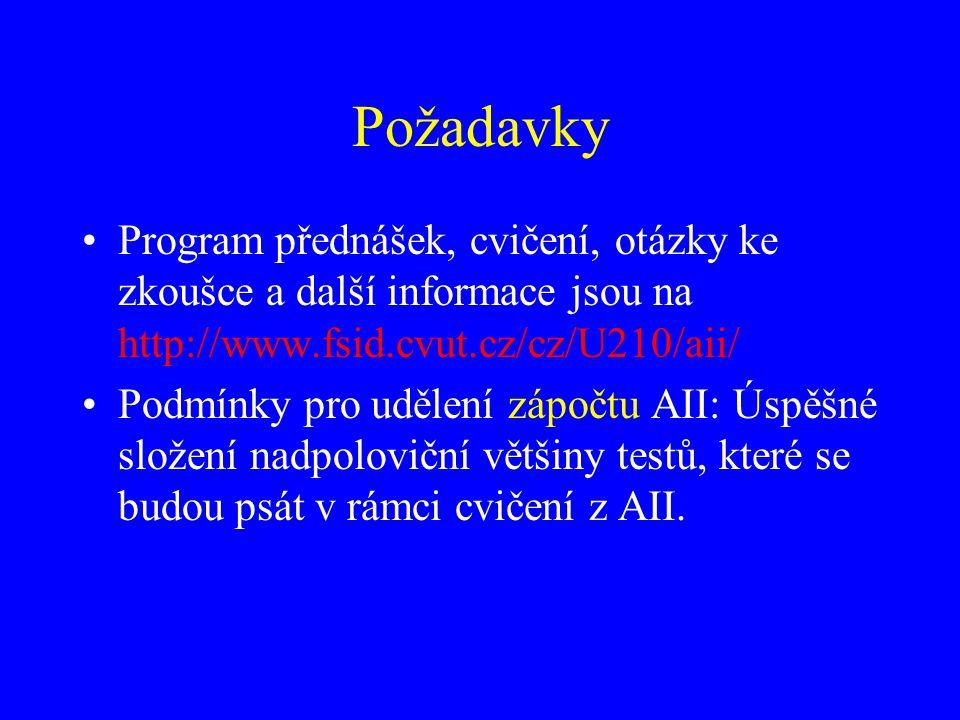 Požadavky Program přednášek, cvičení, otázky ke zkoušce a další informace jsou na http://www.fsid.cvut.cz/cz/U210/aii/ Podmínky pro udělení zápočtu AII: Úspěšné složení nadpoloviční většiny testů, které se budou psát v rámci cvičení z AII.