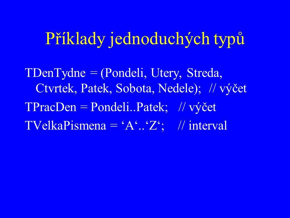 Příklady jednoduchých typů TDenTydne = (Pondeli, Utery, Streda, Ctvrtek, Patek, Sobota, Nedele); // výčet TPracDen = Pondeli..Patek; // výčet TVelkaPismena = 'A'..'Z'; // interval