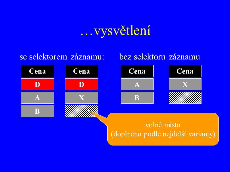 …vysvětlení se selektorem záznamu:bez selektoru záznamu Cena D A B D X A B X volné místo (doplněno podle nejdelší varianty)