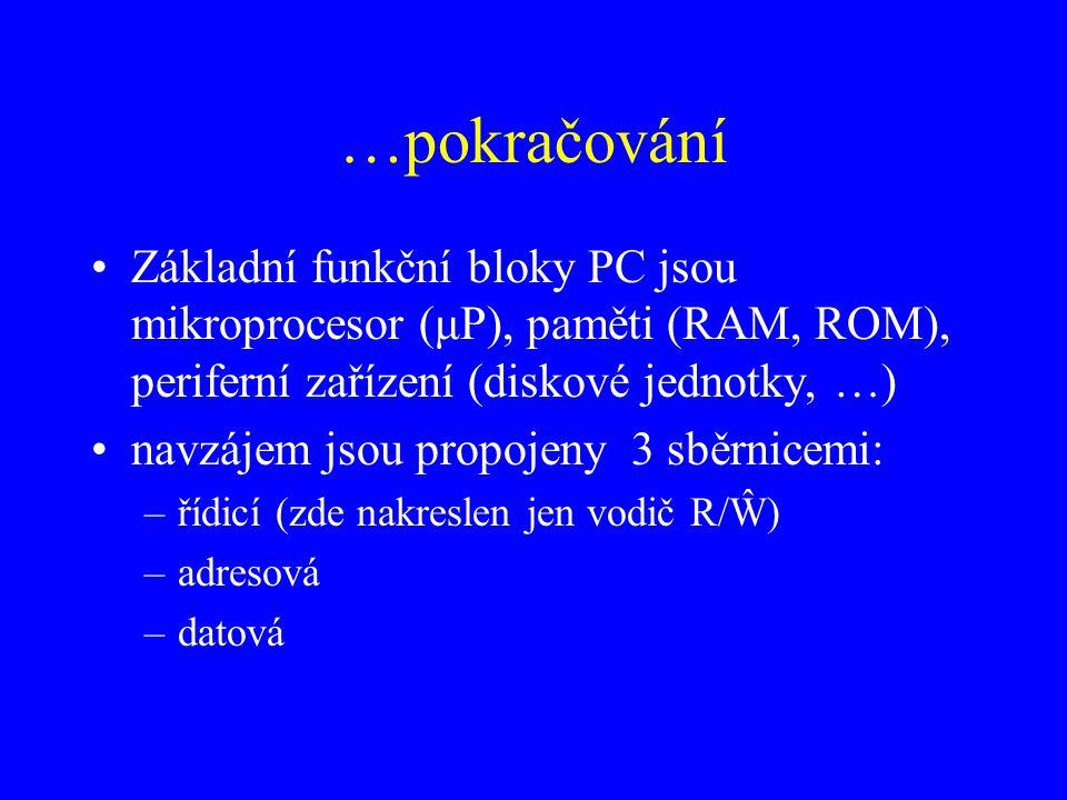 …pokračování Základní funkční bloky PC jsou mikroprocesor (μP), paměti (RAM, ROM), periferní zařízení (diskové jednotky, …) navzájem jsou propojeny 3 sběrnicemi: –řídicí (zde nakreslen jen vodič R/Ŵ) –adresová –datová