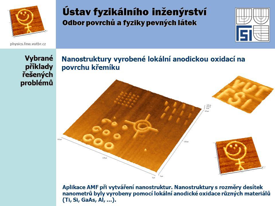 Vybrané příklady řešených problémů Nanostruktury vyrobené lokální anodickou oxidací na povrchu křemíku Ústav fyzikálního inženýrství Odbor povrchů a f